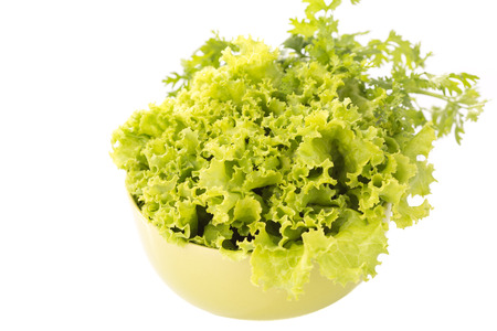 mixed fresh salad on white background