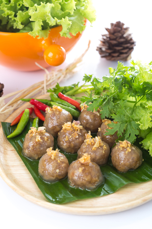 tapioca balls with pork filling on white background Stock Photo