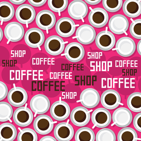 Many cups of coffee on a pink background. Vector