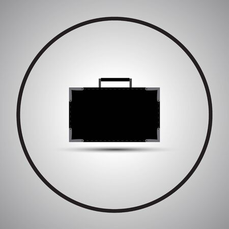 trolley case: Black suitcase for businessman on a gray background.