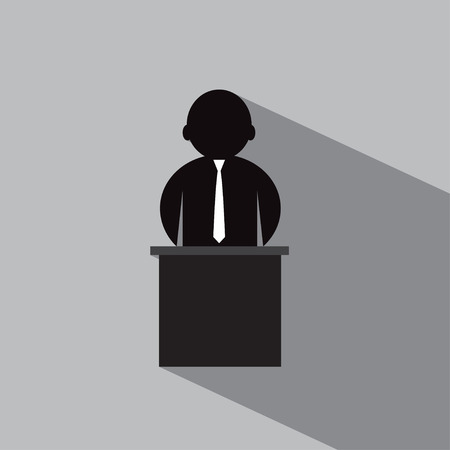 congresses: A businessman or teacher standing at the pulpit on a gray background. Illustration