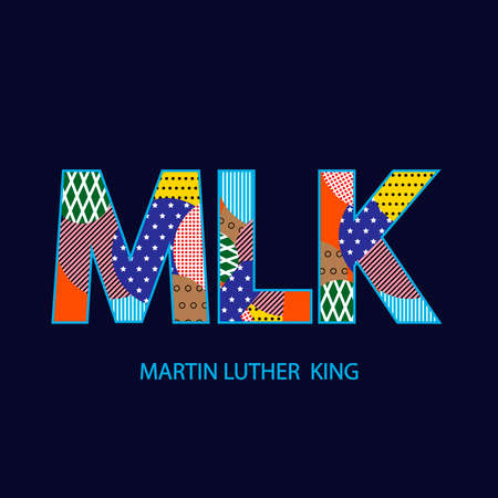 Martin Luther King Day typographic design  , multicolored letters of the MLK.