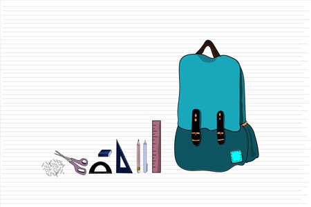 school equipment on white background