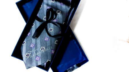 neck tie in the box on white background. Foto de archivo