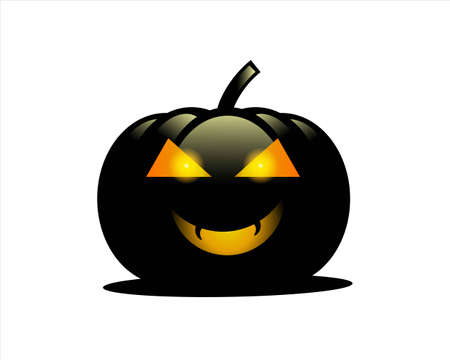 black adn orange color pumpkin isolate icon for Halloween Day