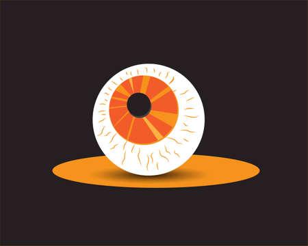 Halloween Spooky Party Eye icon. Concept orange color cartoon vector design.