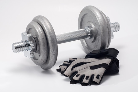 adjustable dumbbell: adjustable dumbbell with workout gloves