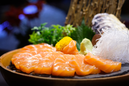 Nice texture and good tasty of Salmon sashimi in the roll  Stock Photo