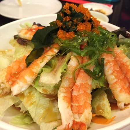 style: Shrimp and vegetables salad,japanese style