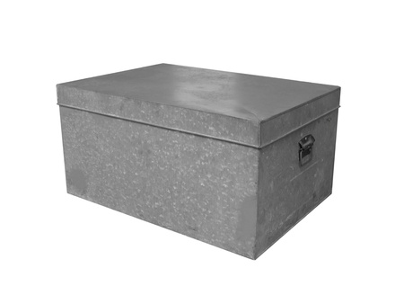 metal: Metal box with lid isolated on white background Stock Photo