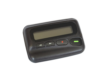 sender: Old pager device isolate on white background Stock Photo