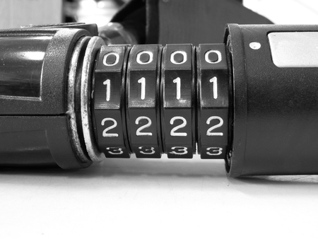 number lock: Four dial digit number combination lock ,black and white effect