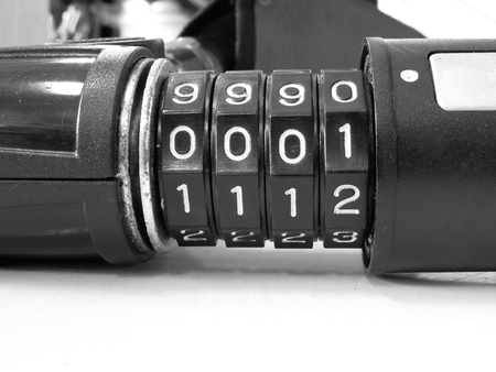 dial lock: Four dial digit number combination lock ,black and white effect