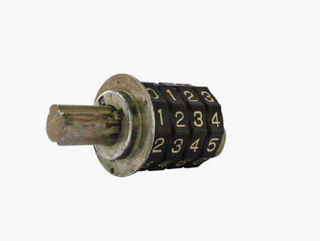 number lock: Locking mechanism of old steel four dial digit number combination lock, isolated on white background Stock Photo