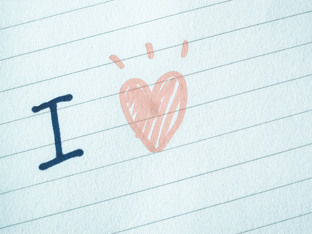 Line Drawing Heart Shape : Hand writing on notebook with i love words and draw heart
