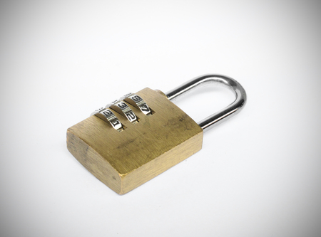 dial lock: Old golden three dial digit number combination lock