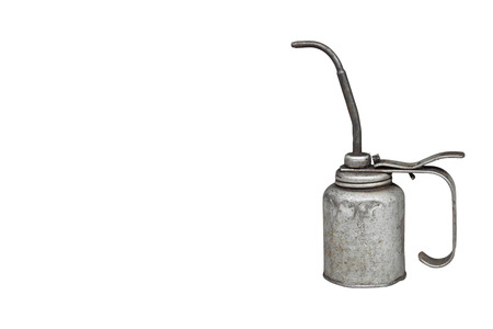 lubricate: Old and dirty metal oil can, isolated on white background