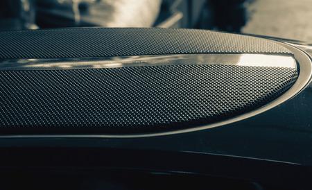 Part of black old car audio subwoofer, vintage filtered effect