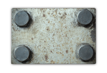 metal grunge: Old and rusty grunge metal plate with rivets, isolated on white background