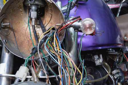 Electric wiring of an old motorcycle headlight