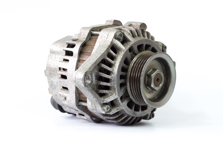 alternateur: Old alternator for the car on white background
