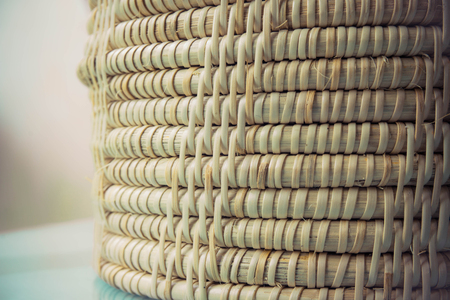 Bamboo weaved texture in Thai style pattern with vintage effect Stock Photo