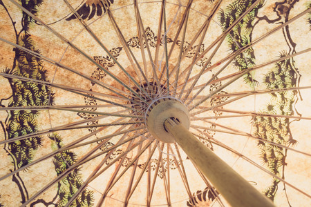 Close up of traditional handmade paper bamboo umbrella with vintage effect Stock Photo