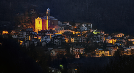 Prea - A mountain village in Italy (Piedmont) at night.