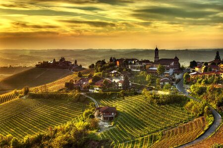 The village of Treiso, in the Langhe (Piedmont, Italy), in the limited production area of ??the prestigious Barbaresco wine.