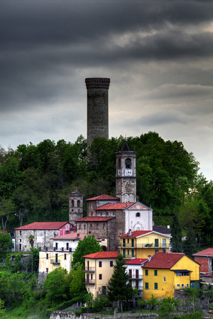 A view of Castellino Tanaro, with its ancient tower, in the Langhe, Piedmont, Italy.