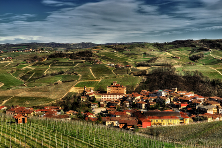 The town of Barolo, with the Falletti castle, among the vineyards, in the center of the area of ??the homonymous wine.