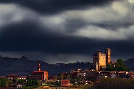 Serralunga d'Alba under a stormy sky. Barolo, in the Langhe, Piedmont, we are at the center of the