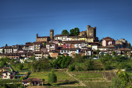 Langhe - Roddi - View of the town of Roddi, in the Langhe, Piedmont, surmonted by the castle.