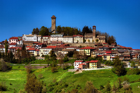 View of the town of Murazzano, in the High Langa, Langhe, Cuneo province, Piedmont, North Italy. Editorial