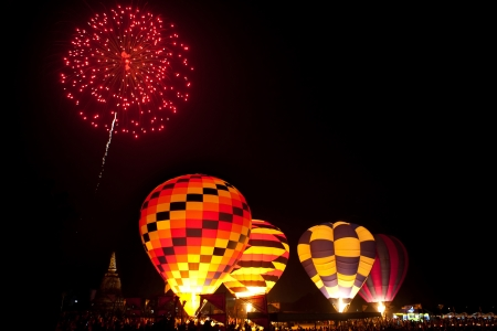 Fireworks in work ,Internationa l Balloon Festival,Thailand photo