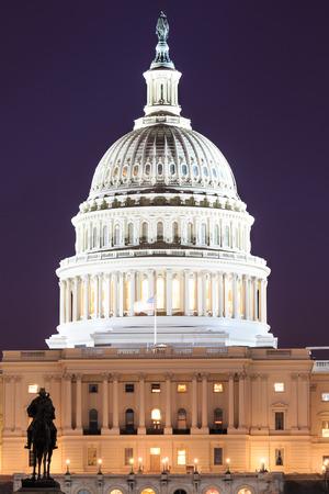 congressional: The United States Capitol building in Washington DC, USA - night scene