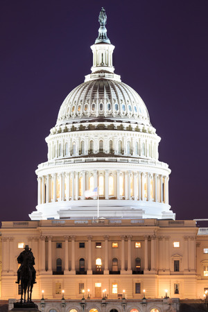 The United States Capitol building in Washington DC, USA - night scene