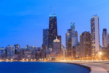 Chicago city urban skyscraper at twilight photo