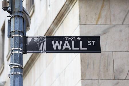 Wall Street sign in lower Manhattan New York photo