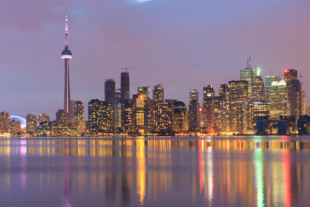 Scenic view at Toronto city waterfront skyline at twilight