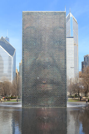 CHICAGO, USA - APRIL 18   View of the Crown Fountain in Millennium Park in Chicago on April 18 2014 ,The fountain is interactive work of public art and video sculpture designed by Jaume Plensa  Editorial