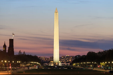 Washington DC, Washington Monument in sunset scene  photo