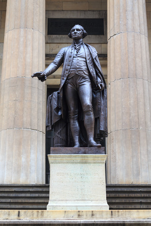 george washington: George Washington Statue at Federal Hall in New York City  Stock Photo