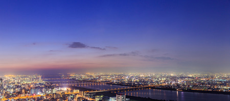 panoramic view of Osaka from the top floor of the highest building in town Symphony Hall, Japan
