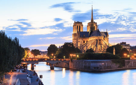 cite: Panorama of the island Cite with cathedral Notre Dame de Paris in Paris, France.