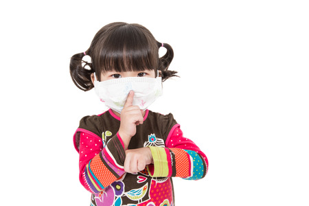 Illness child,Sick child on white background. photo