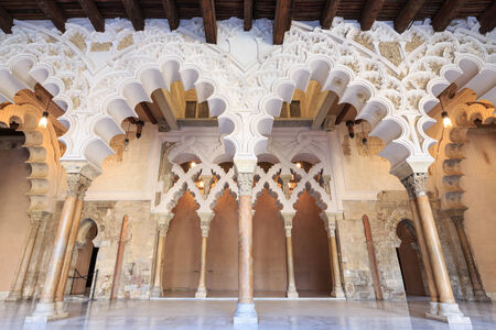 mudejar: Arches and rooms of the Nord Porch within the Aljaferia Palace at Zaragoza, Spain Editorial