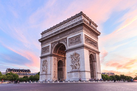 Arch of Triumph, Champs-Elysees at sunset in Paris