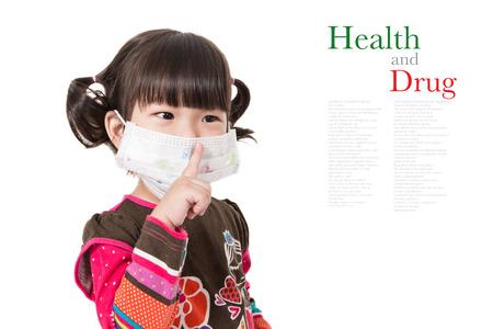 Illness child,Sick child on white background.