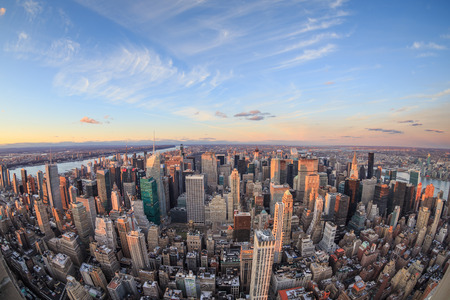new york city panorama: Beautiful New York City skyline with urban skyscrapers at sunset. Stock Photo